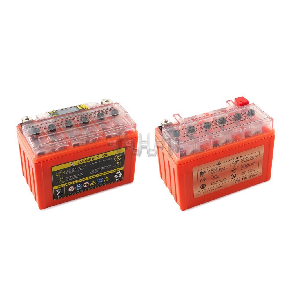 Акумулятор (АКБ) 12V 9А гелевий (152x88x106, помаранчевий, з індикатором заряду, вольтметром) OUTDO арт.A-1166