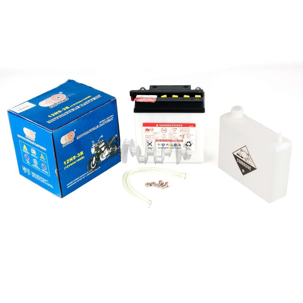 Акумулятор (АКБ) 12V 9А заливний (135x75x139, білий, mod: 12N 9-3B) (+ електроліт) OUTDO арт.A-1344