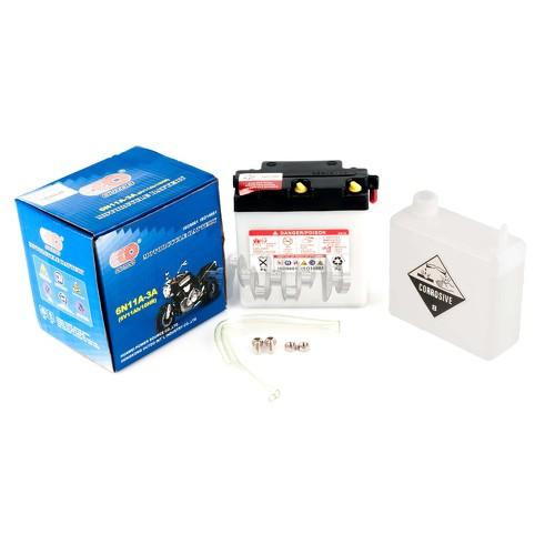 Акумулятор (АКБ) 6V 11А заливний (120x60x130, білий, mod: 6N 11A-3A) (+ електроліт) OUTDO арт.A-1342