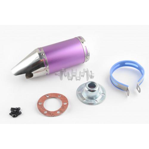 Глушитель (тюнинг)   170*100mm, креп. Ø78mm   (нержавейка, короткий, фиолетовый, прямоток, mod:4)