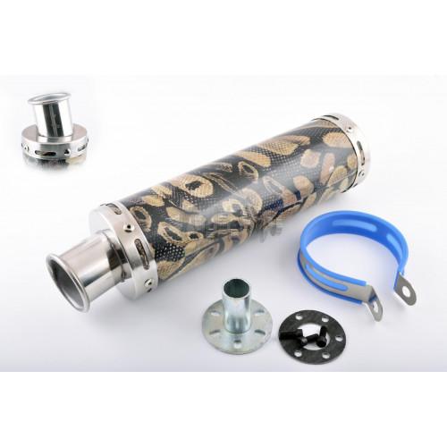 Глушитель (тюнинг)   300*90mm, креп. Ø48mm   (нержавейка, змеиная кожа, прямоток, тип:1)