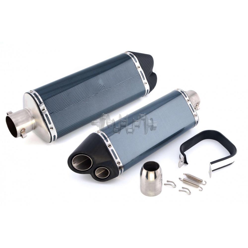 Глушитель (тюнинг)   370*105mm   (нержавейка, три-овал, карбон светлый, прямоток, mod:4)   118