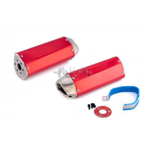 Глушитель (тюнинг)   370*105mm   (нержавейка, три-овал, красный, прямоток)   118