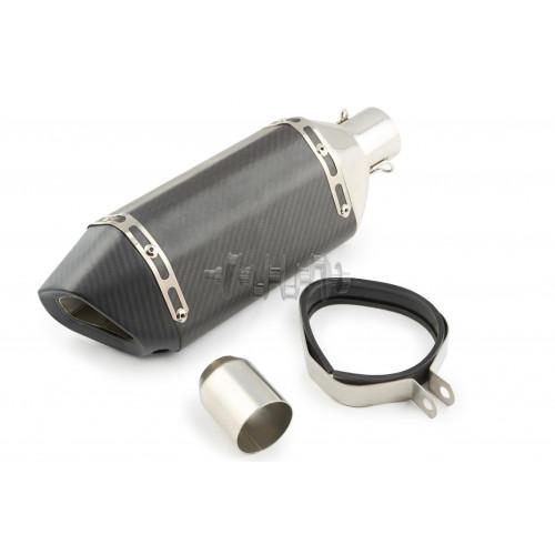 Глушитель (тюнинг)   380*125mm   (нержавейка, три-овал, карбон светлый, прямоток, mod:4)   118
