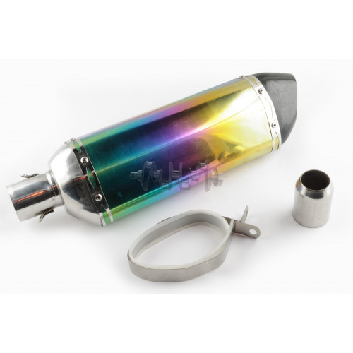 Глушитель (тюнинг)   400*105mm, креп. Ø78mm   (нержавейка, три-овал, радуга, прямоток, mod:1)