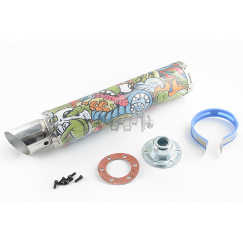 Глушитель (тюнинг)   420*100mm, креп. Ø78mm   (нержавейка, граффити, прямоток, mod:2)