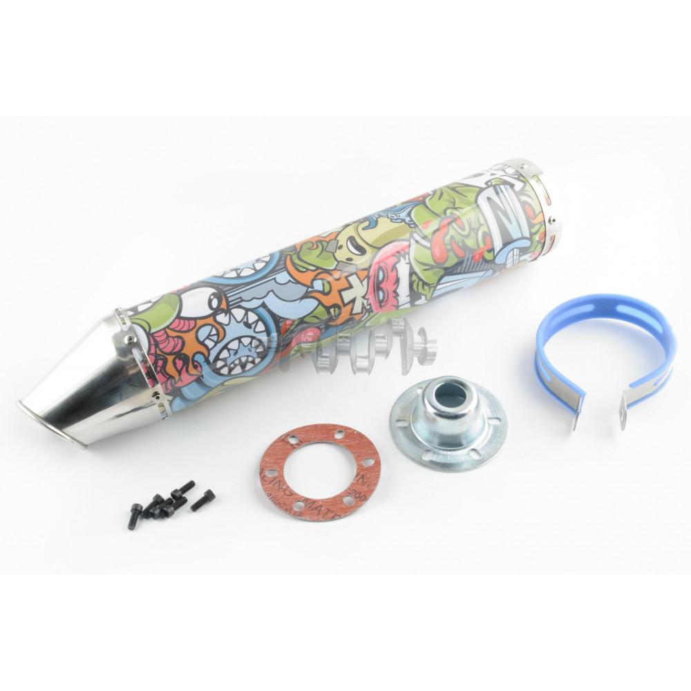 Глушитель (тюнинг)   420*100mm, креп. Ø78mm   (нержавейка, граффити, прямоток, mod:3)