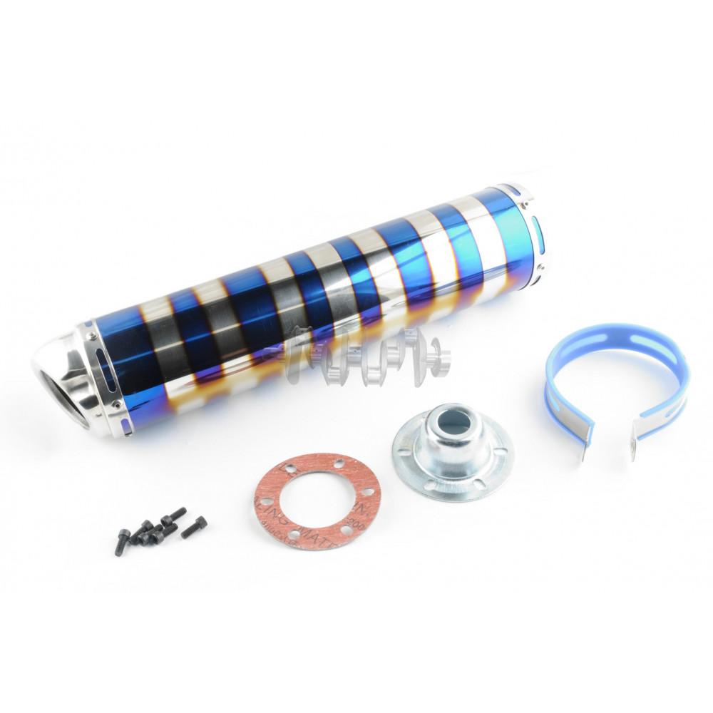 Глушитель (тюнинг)   420*100mm, креп. Ø78mm   (нержавейка, зебра, серебристо-синий, прямоток, mod:1)
