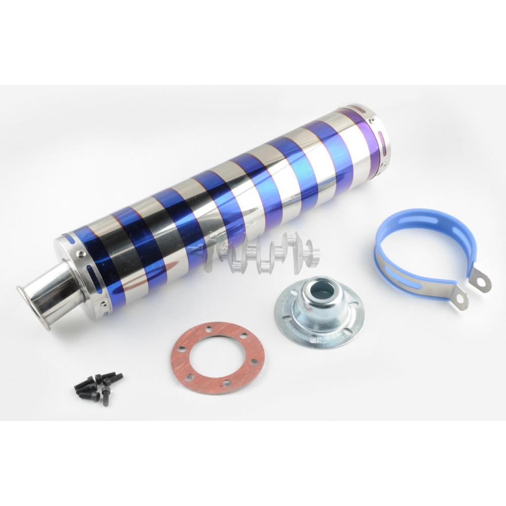 Глушитель (тюнинг)   420*100mm, креп. Ø78mm   (нержавейка, зебра, серебристо-синий, прямоток, mod:2)