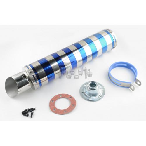 Глушитель (тюнинг)   420*100mm, креп. Ø78mm   (нержавейка, зебра, серебристо-синий, прямоток, mod:4)