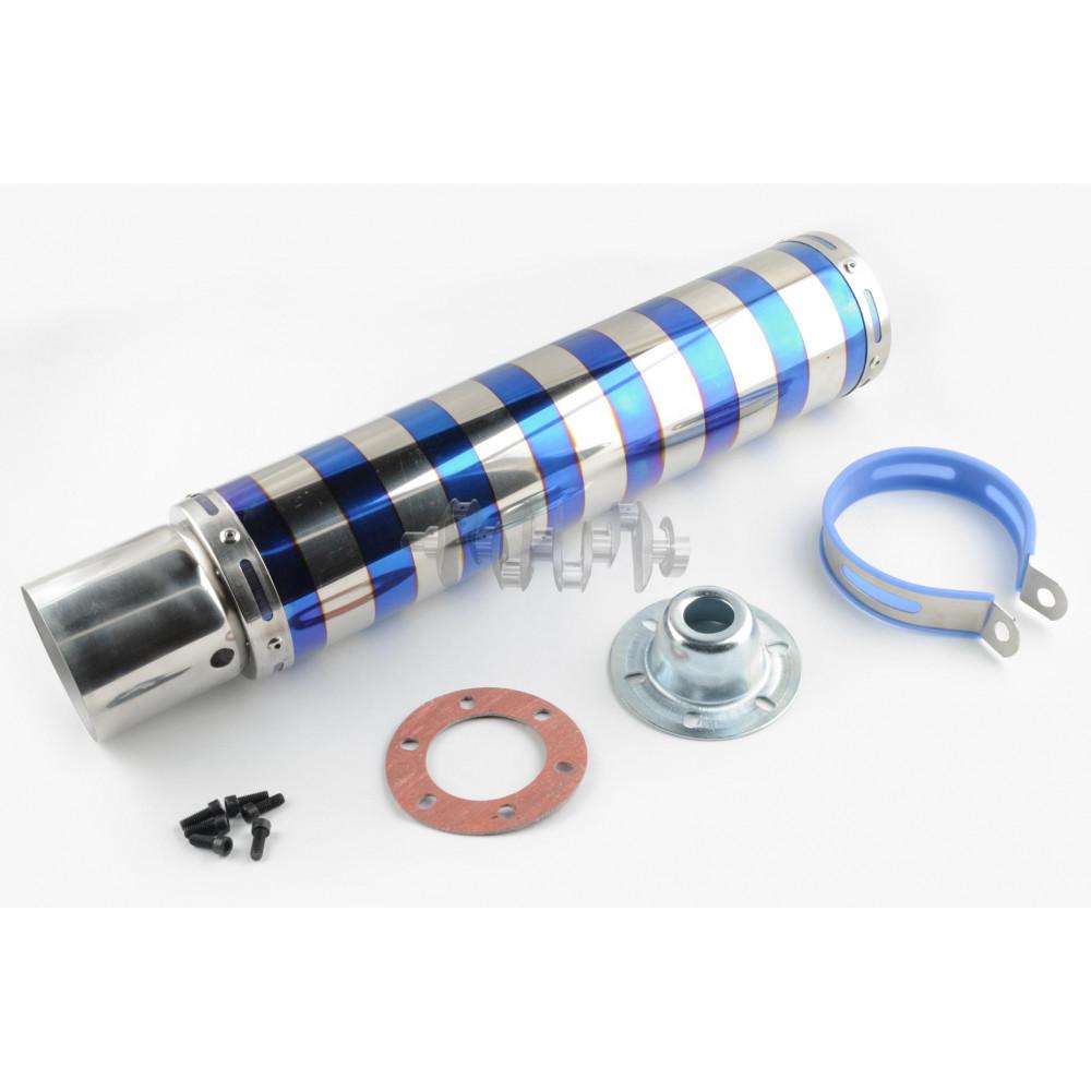 Глушитель (тюнинг)   420*100mm, креп. Ø78mm   (нержавейка, зебра, цветной, прямоток, mod:7)