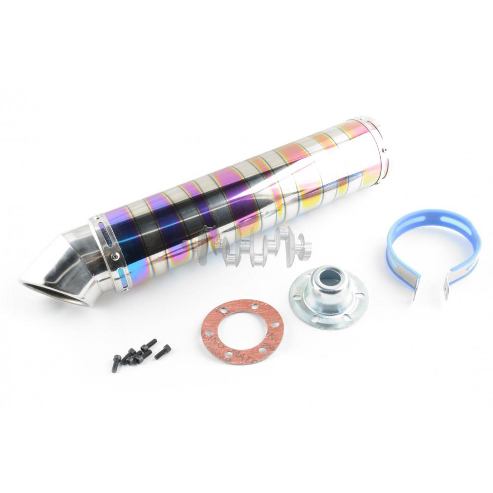 Глушитель (тюнинг)   420*100mm, креп. Ø78mm   (нержавейка, зебра, цветной, прямоток, mod:8)