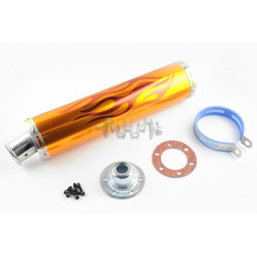 Глушитель (тюнинг)   420*100mm, креп. Ø78mm   (нержавейка, пламя, золото, прямоток, mod:2)