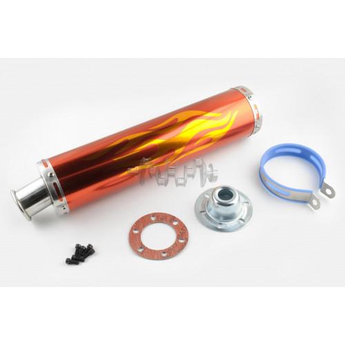 Глушитель (тюнинг)   420*100mm, креп. Ø78mm   (нержавейка, пламя, красный, прямоток, mod:2)