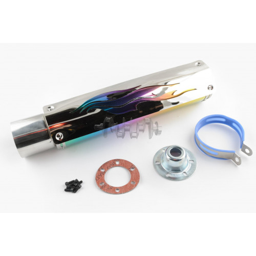 Глушитель (тюнинг)   420*100mm, креп. Ø78mm   (нержавейка, пламя, с накладкой, прямоток, mod:3)