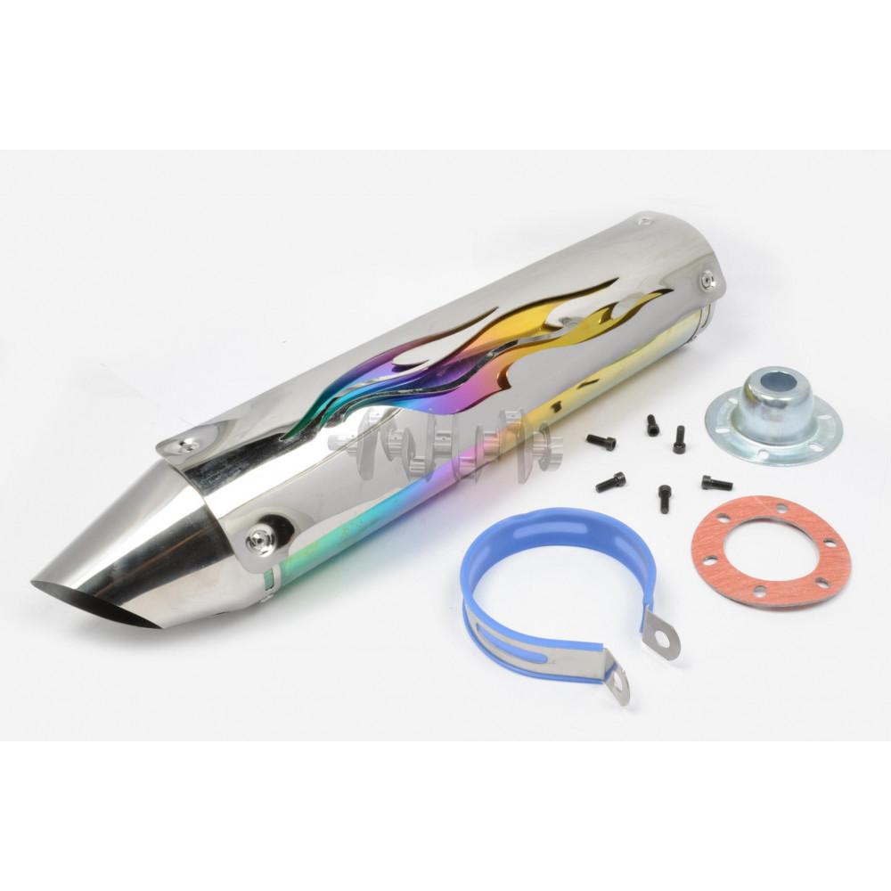Глушитель (тюнинг)   420*100mm, креп. Ø78mm   (нержавейка, пламя, с накладкой, прямоток, mod:4)