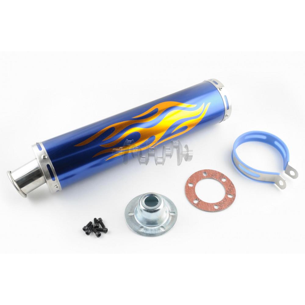 Глушитель (тюнинг)   420*100mm, креп. Ø78mm   (нержавейка, пламя, синий, прямоток, mod:2)