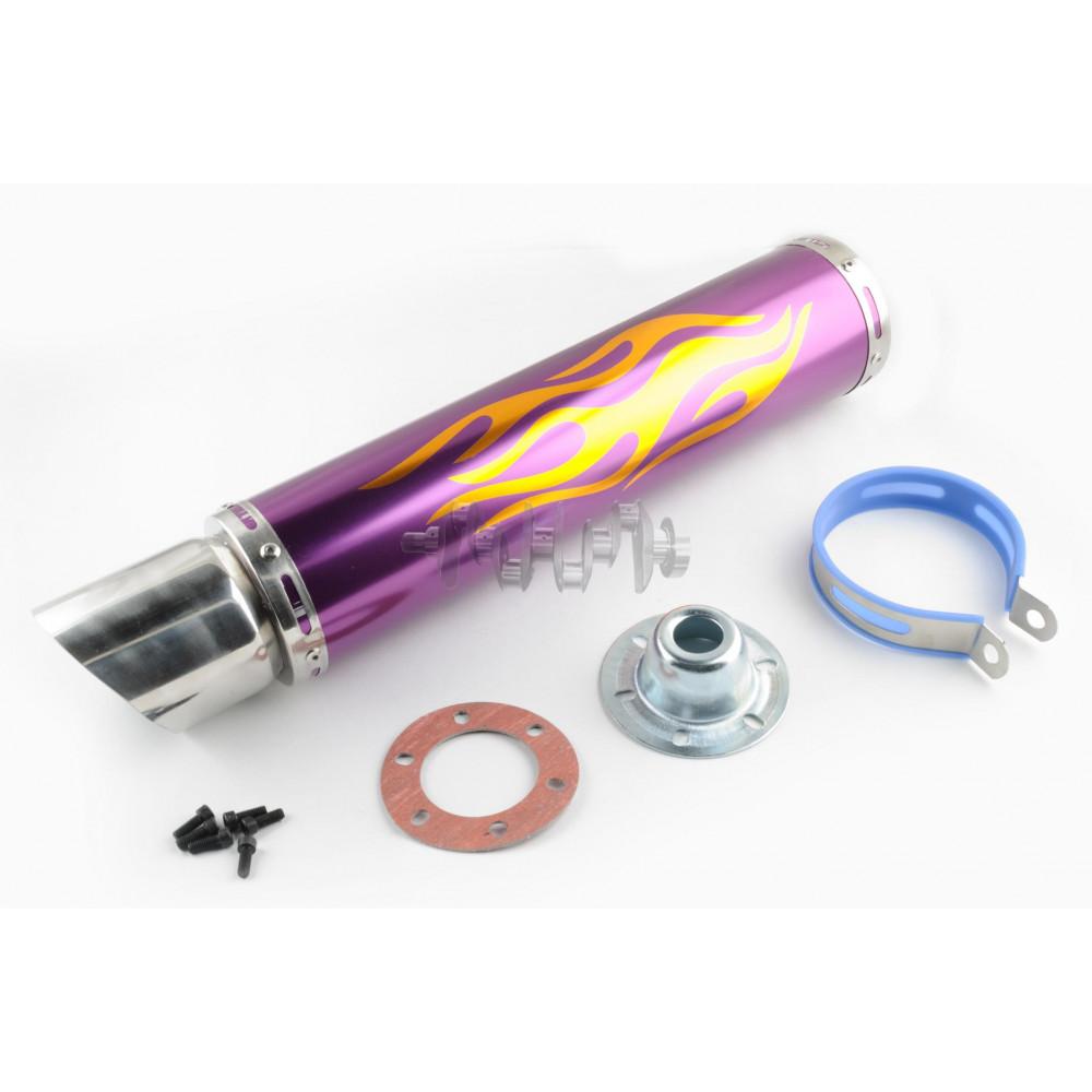 Глушитель (тюнинг)   420*100mm, креп. Ø78mm   (нержавейка, пламя, фиолетовый, прямоток, mod:1)
