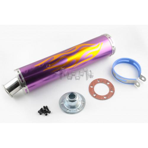 Глушитель (тюнинг)   420*100mm, креп. Ø78mm   (нержавейка, пламя, фиолетовый, прямоток, mod:2)