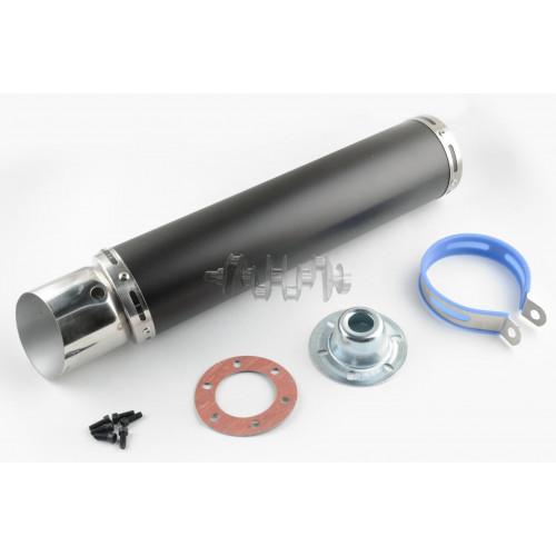 Глушитель (тюнинг)   420*100mm, креп. Ø78mm   (нержавейка, черный, прямоток, mod:2)