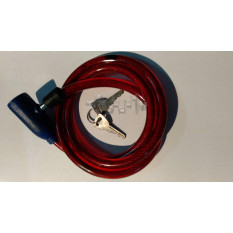 Замок на колесо   (трос 1000*10mm) (с ключом)   (красный)   YKX
