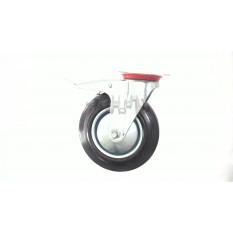 Колесо для тачек и платформ (литая резина) (в сборе с креплением и тормозами)   (200/50-100mm)   MRH