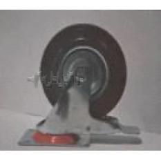 Колесо для тачек и платформ (литая резина) (в сборе с креплением и тормозом, поворотное)   (125/37,5
