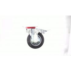 Колесо для тачек и платформ (литая резина) (в сборе с креплением и тормозом, поворотное)   (160/40-8