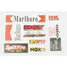 Наклейки (набір) спонсори, мультибренд (29x20см) (5640) арт.N-1220