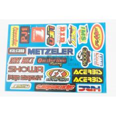 Наклейки (набір) спонсори, мультибренд (31х22см) (0018A) арт.N-1401
