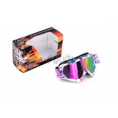Очки кроссовые   MOTSAI   (бело-лиловые, ремешок бело-лиловый, стекло хамелеон)