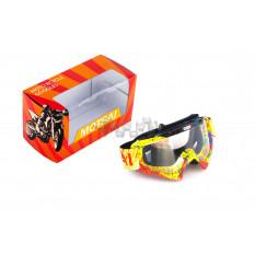 Очки кроссовые   MOTSAI   (желто-красные, желтый ремешок, стекло прозрачное)
