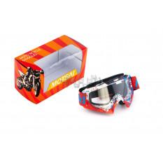 Очки кроссовые   MOTSAI   (красно-белые, красный ремешок,стекло прозрачное)