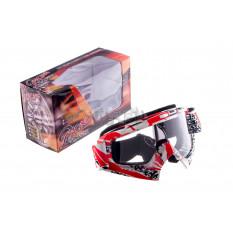 Очки кроссовые   VEGA   (оранжево-бело-черные, стекло прозрачное)