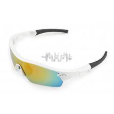Очки мото   KML   (на резинке, белые, со стеклами хамелеон) (mod:WL-0013)
