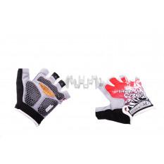 Перчатки без пальцев   (mod:1, size:XL, гелевые подушки, красные)   HAND CREW