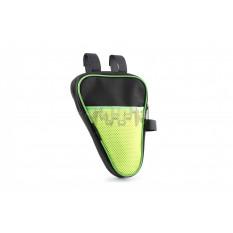 Сумка велосипедная на раму   (вертикальная)   (mod:2, черно-зеленая)   AI