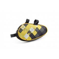 Сумка велосипедная на раму   (горизонтальная)   (mod:2, черно-желтая)   AI
