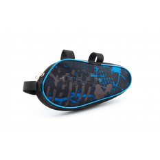 Сумка велосипедная на раму   (горизонтальная)   (mod:2, черно-синяя)   AI