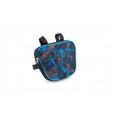 Сумка велосипедная на раму   (горизонтальная)   (mod:3, черно-синяя)   AI