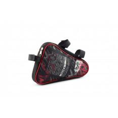 Сумка велосипедная на раму   (горизонтальная)   (mod:4, черно-красная)   AI