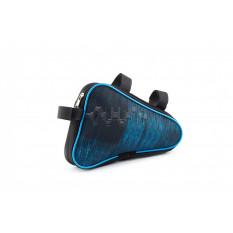 Сумка велосипедная на раму   (горизонтальная)   (mod:4, черно-синяя)   AI