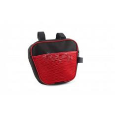 Сумка велосипедная на раму   (горизонтальная)   (mod:7, черно-красная)   AI