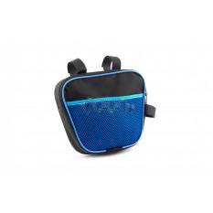 Сумка велосипедная на раму   (горизонтальная)   (mod:7, черно-синяя)   AI