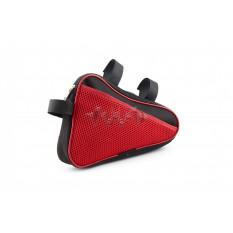 Сумка велосипедная на раму   (горизонтальная)   (mod:8, черно-красная)   AI