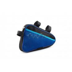 Сумка велосипедная на раму   (горизонтальная)   (mod:8, черно-синяя)   AI