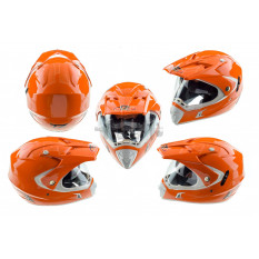 Шлем кроссовый   (mod:CR188) (с визором, size:L, оранжевый)   HELMO