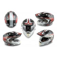 Шлем кроссовый   (mod:CR188) (с визором, size:L, черно-белый)   HELMO