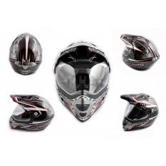 Шлем кроссовый   (mod:MX433) (с визором, size:XXL, черно-красный, MAGNUM)   LS-2