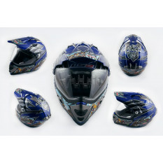 Шлем кроссовый   (mod:MX433) (с визором, size:ХL, синий, FOUL PLUGS)   LS-2